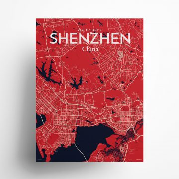 "Shenzhen city map poster in Nautical of size 18"" x 24"""