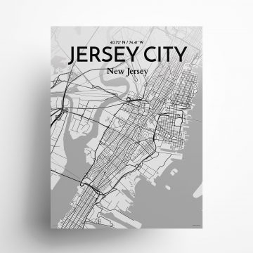 "Jersey City city map poster in Tones of size 18"" x 24"""