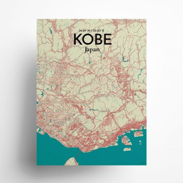 """Kobe city map poster in Tricolor of size 18"""" x 24"""""""