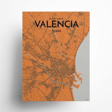 "Valencia city map poster in Oranje of size 18"" x 24"""