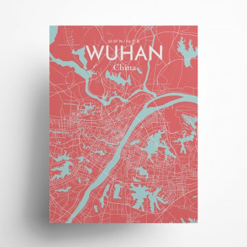 "Wuhan city map poster in Maritime of size 18"" x 24"""