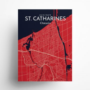 "St. Catharines city map poster in Nautical of size 18"" x 24"""