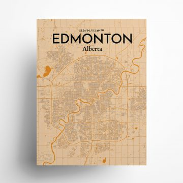 "Edmonton city map poster in Vintage of size 18"" x 24"""