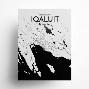 """Iqaluit city map poster in Ink of size 18"""" x 24"""""""
