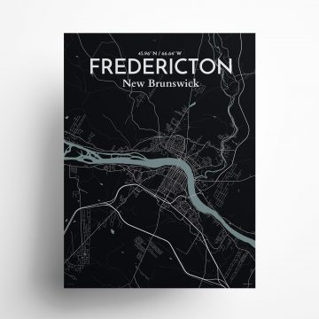 "Fredericton city map poster in Midnight of size 18"" x 24"""