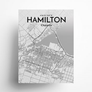 "Hamilton city map poster in Tones of size 18"" x 24"""