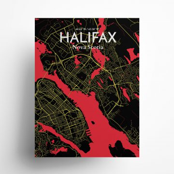 "Halifax city map poster in Contrast of size 18"" x 24"""