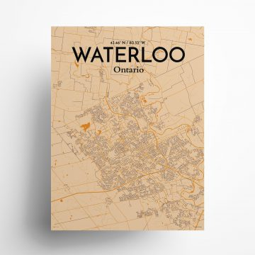 """Waterloo city map poster in Vintage of size 18"""" x 24"""""""