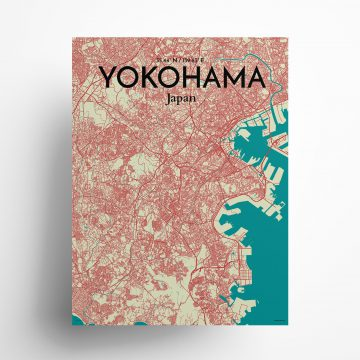 """Yokohama city map poster in Tricolor of size 18"""" x 24"""""""