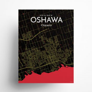 "Oshawa city map poster in Contrast of size 18"" x 24"""