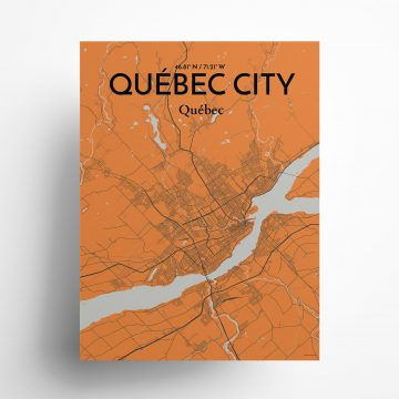"Quebec City city map poster in Oranje of size 18"" x 24"""