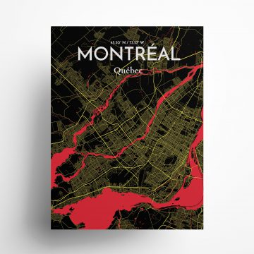 "Montreal city map poster in Contrast of size 18"" x 24"""