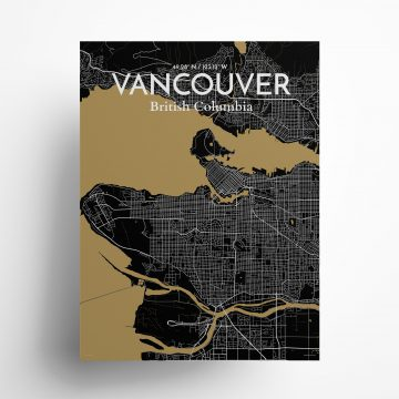 """Vancouver city map poster in Luxe of size 18"""" x 24"""""""