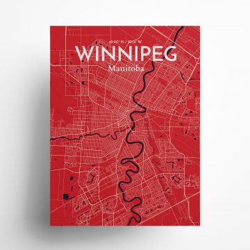"""Winnipeg city map poster in Nautical of size 18"""" x 24"""""""