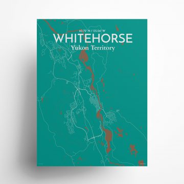 """Whitehorse city map poster in Nature of size 18"""" x 24"""""""