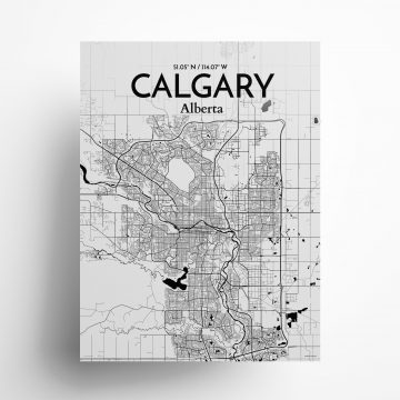 "Calgary city map poster in Ink of size 18"" x 24"""