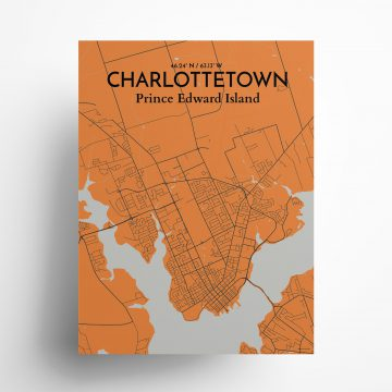 "Charlottetown city map poster in Oranje of size 18"" x 24"""
