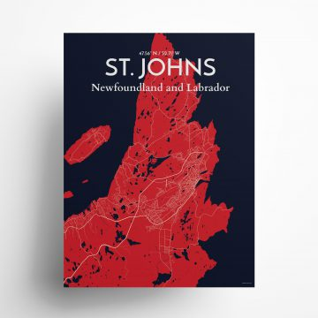 "St. Johns city map poster in Nautical of size 18"" x 24"""