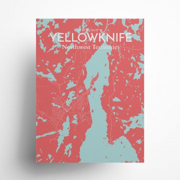 """Yellowknife city map poster in Maritime of size 18"""" x 24"""""""