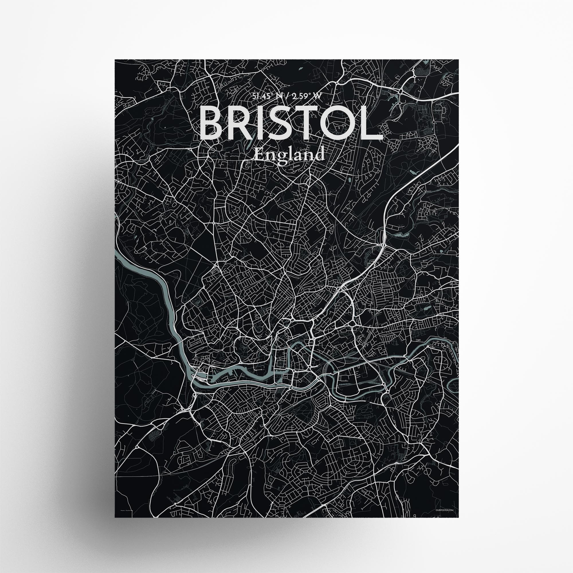 """Bristol city map poster in Midnight of size 18"""" x 24"""""""