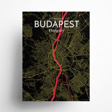 """Budapest city map poster in Contrast of size 18"""" x 24"""""""