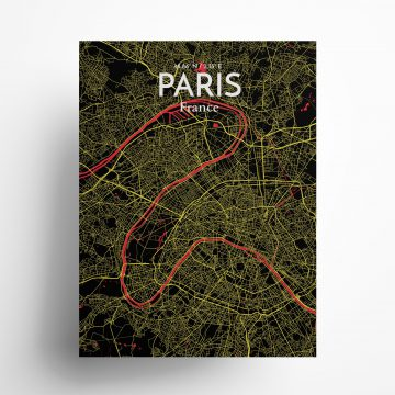 """Paris city map poster in Contrast of size 18"""" x 24"""""""