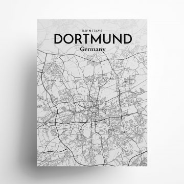"Dortmund city map poster in Tones of size 18"" x 24"""