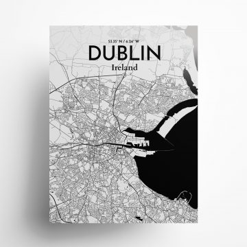 "Dublin city map poster in Ink of size 18"" x 24"""