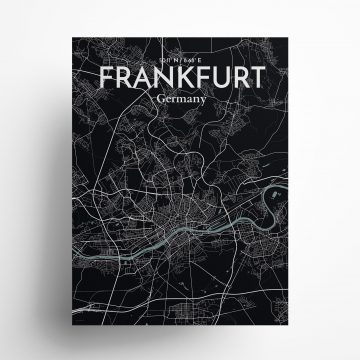 "Frankfurt city map poster in Midnight of size 18"" x 24"""