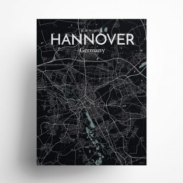 "Hannover city map poster in Midnight of size 18"" x 24"""