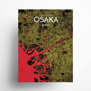 """Osaka city map poster in Contrast of size 18"""" x 24"""""""