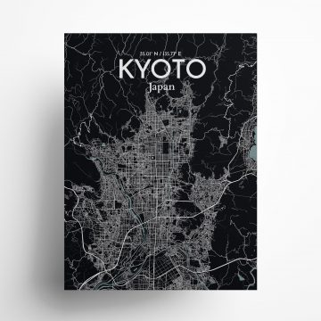 """Kyoto city map poster in Midnight of size 18"""" x 24"""""""