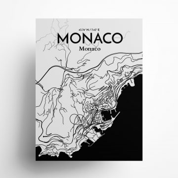"Monaco city map poster in Ink of size 18"" x 24"""