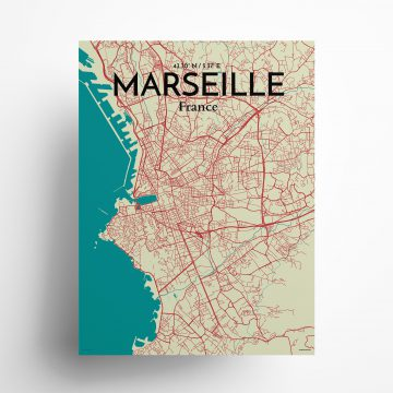 """Marseille city map poster in Tricolor of size 18"""" x 24"""""""