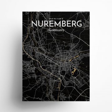 "Nuremberg city map poster in Luxe of size 18"" x 24"""