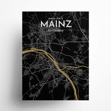 "Mainz city map poster in Luxe of size 18"" x 24"""