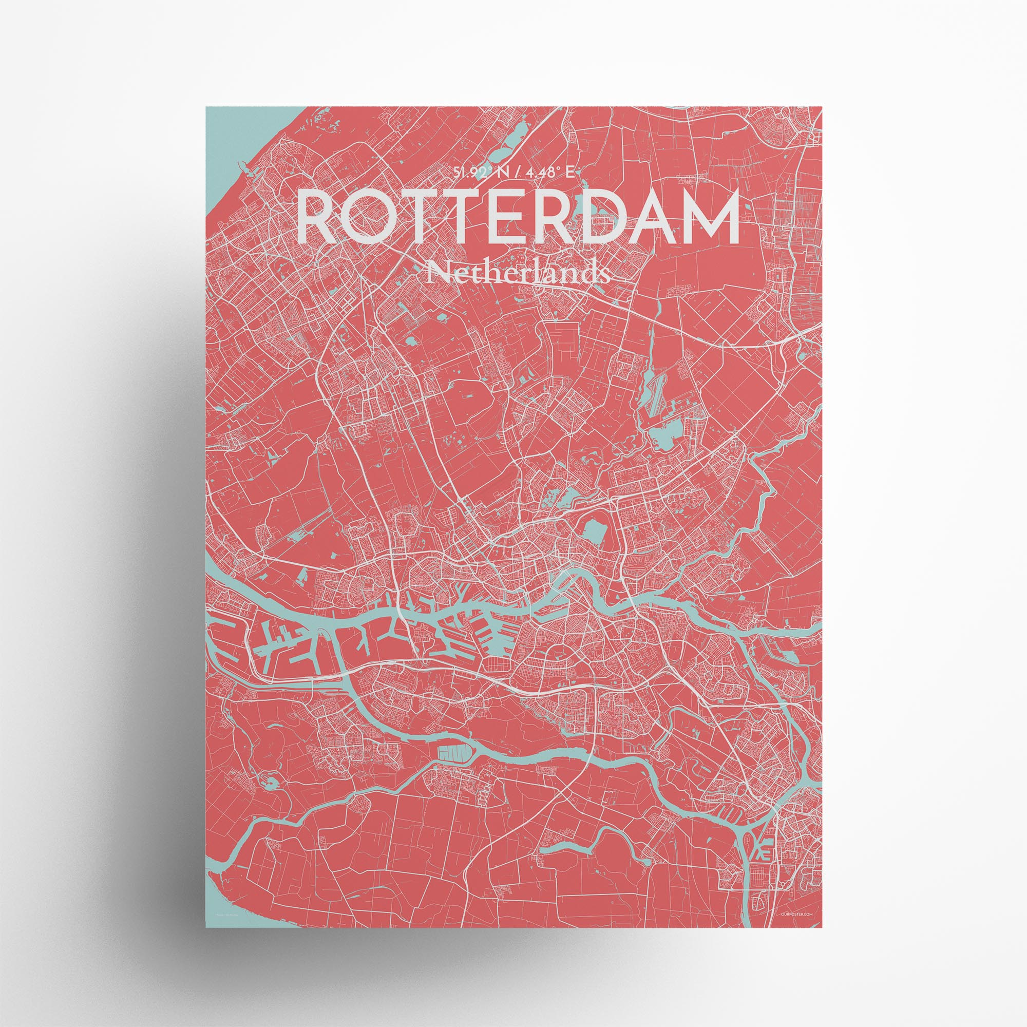 """Rotterdam city map poster in Maritime of size 18"""" x 24"""""""