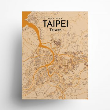 "Taipei city map poster in Vintage of size 18"" x 24"""