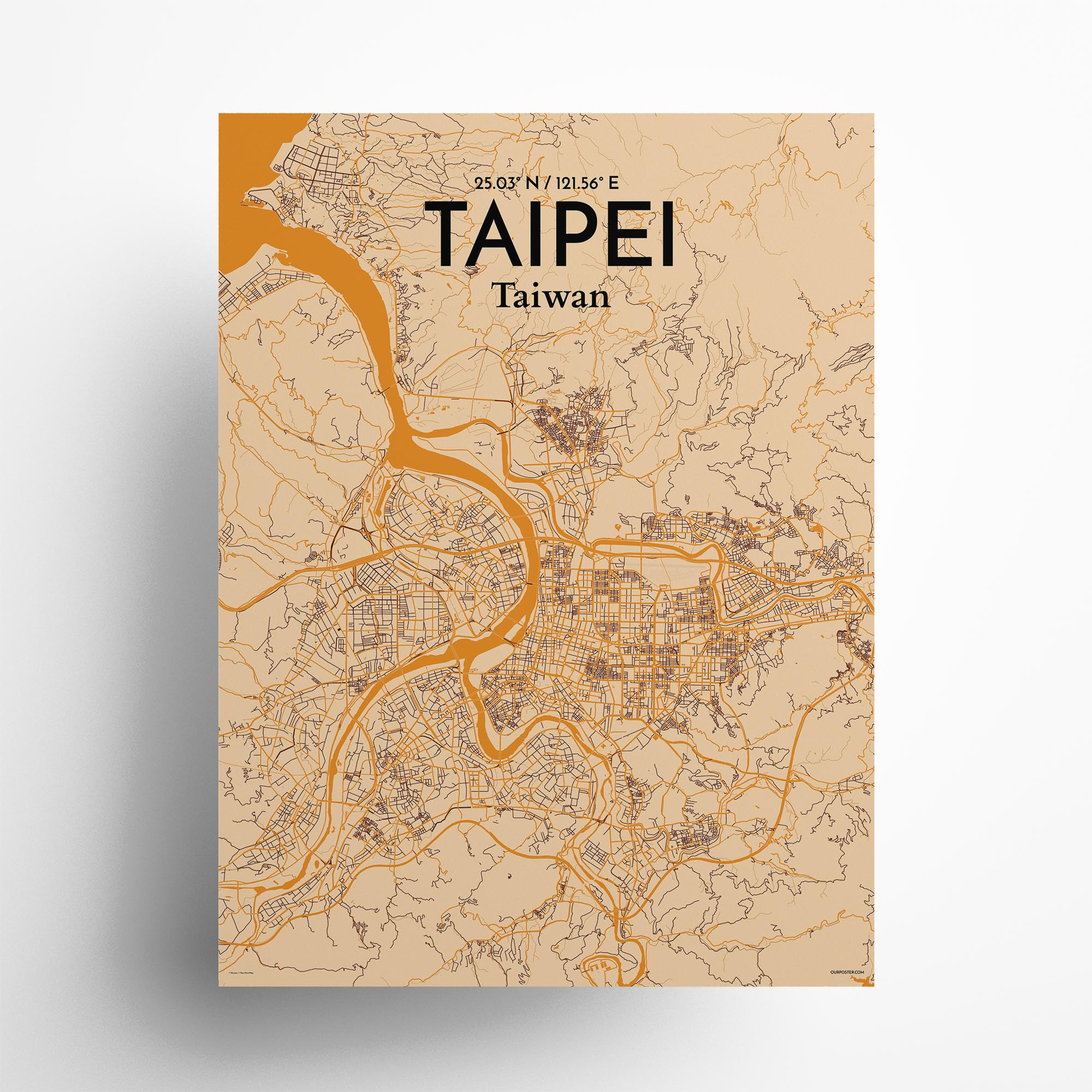 """Taipei city map poster in Vintage of size 18"""" x 24"""""""