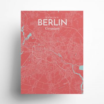 "Berlin city map poster in Maritime of size 18"" x 24"""