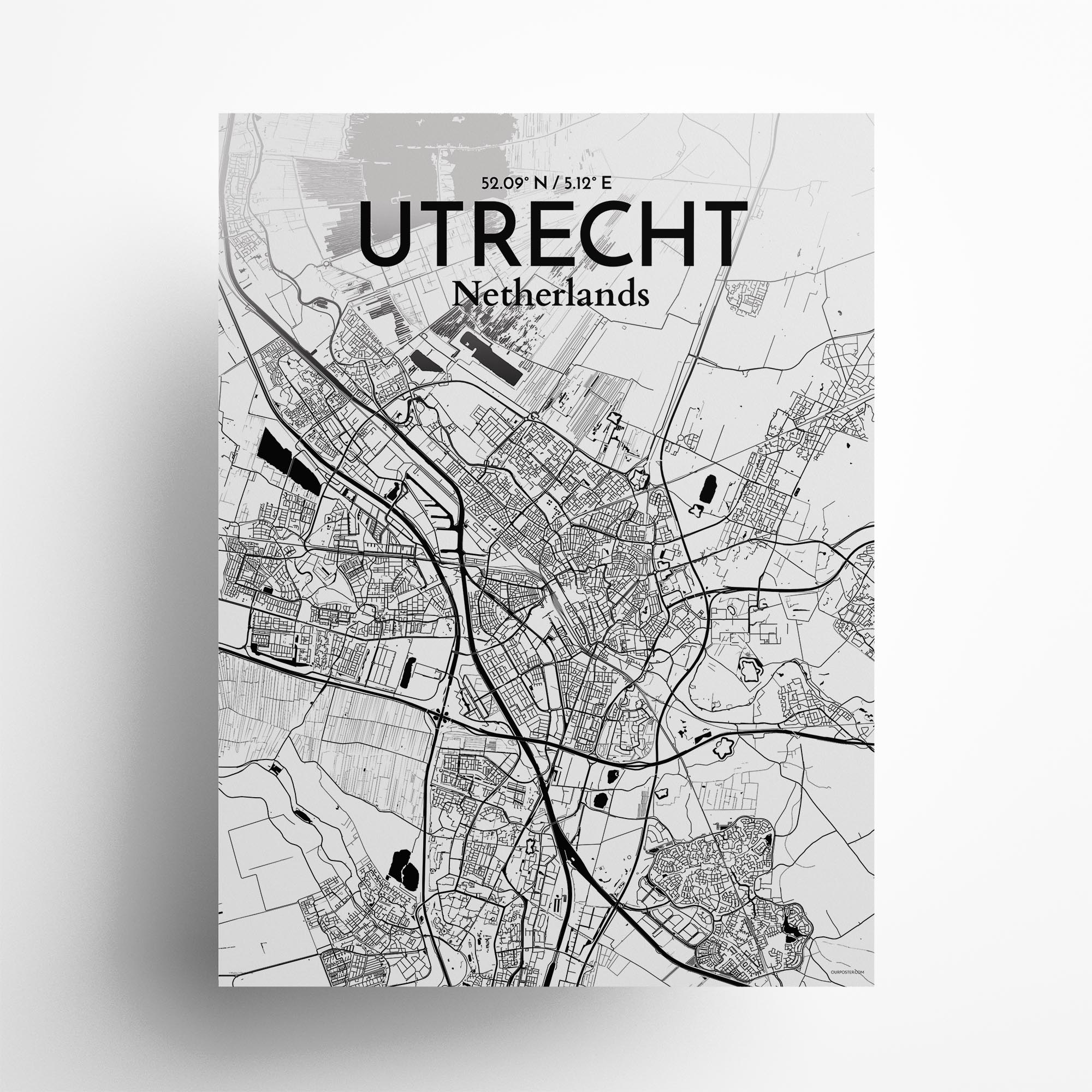 """Utrecht city map poster in Ink of size 18"""" x 24"""""""