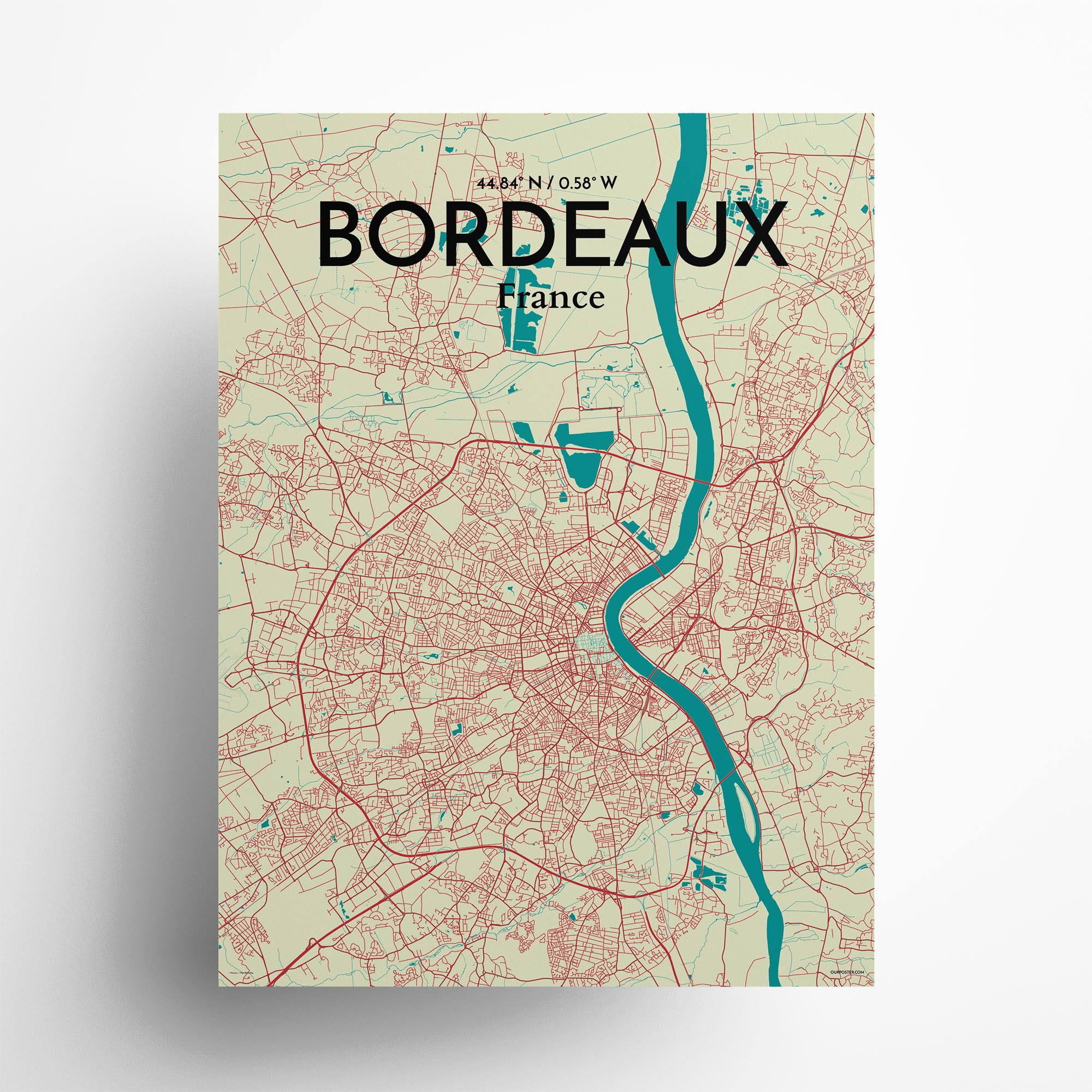 """Bordeaux city map poster in Tricolor of size 18"""" x 24"""""""