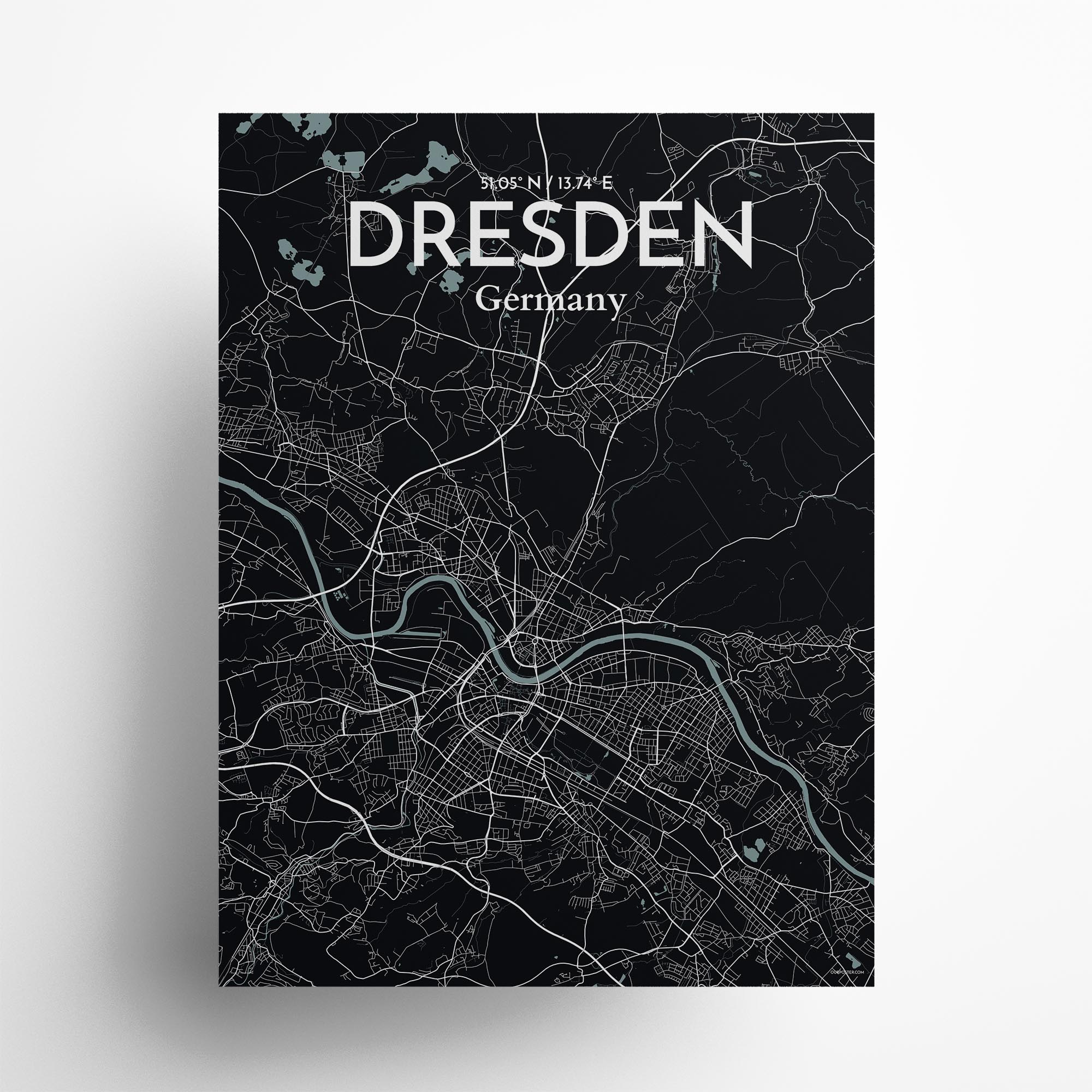 """Dresden city map poster in Midnight of size 18"""" x 24"""""""