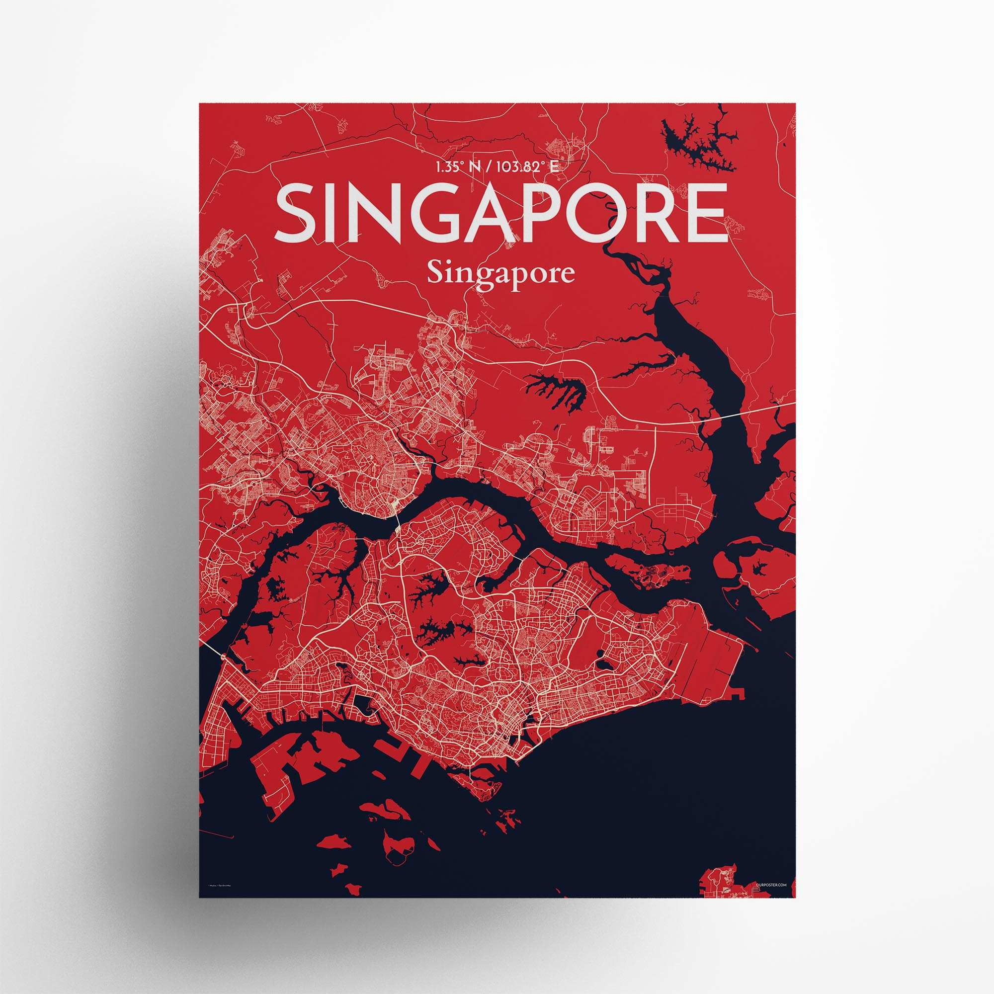 """Singapore city map poster in Nautical of size 18"""" x 24"""""""