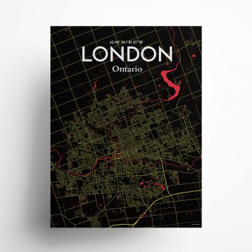 """London city map poster in Contrast of size 18"""" x 24"""""""
