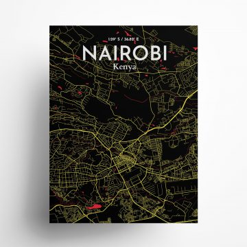 """Nairobi city map poster in Contrast of size 18"""" x 24"""""""