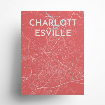 """Charlottesville city map poster in Maritime of size 18"""" x 24"""""""