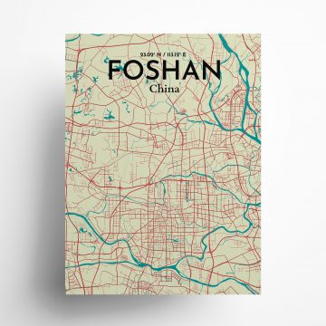 """Foshan city map poster in Tricolor of size 18"""" x 24"""""""