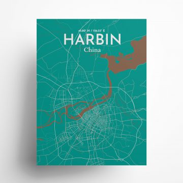"""Harbin city map poster in Nature of size 18"""" x 24"""""""