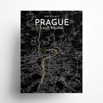 """Prague city map poster in Luxe of size 18"""" x 24"""""""